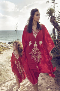 Boho Style Red Embroidered Robe Beach Dress