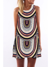 Load image into Gallery viewer, Retro pattern sleeveless Bohemia short dress fit for beach party
