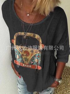 Autumn T-shirt with Round Collar Printing