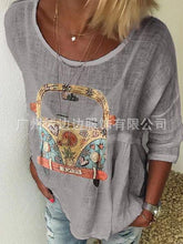 Load image into Gallery viewer, Autumn T-shirt with Round Collar Printing