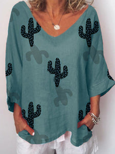 Cactus Pattern Printed Fashionable Shirt with Broken Sleeves