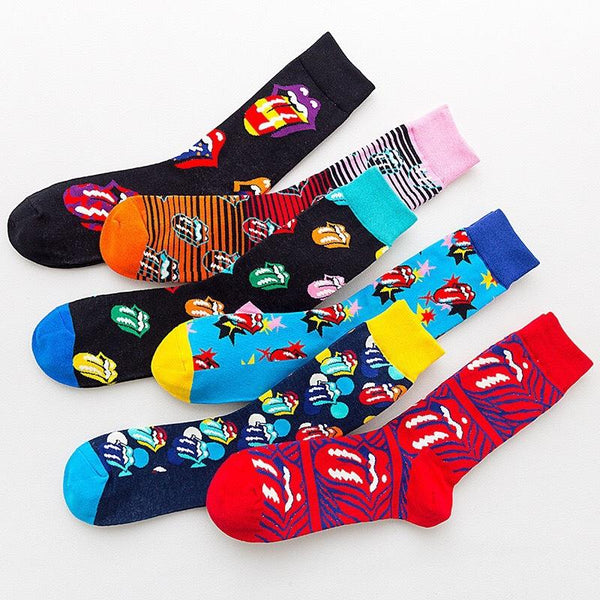 Trend Rolling Stone Band Joint Big Tongue Rock Style Fashion Men's and Women's Cotton  Personality Mid Autumn and Winter Socks