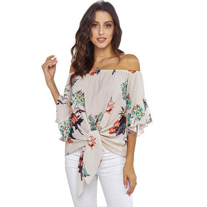 Shirt Sexy Shoulder Shirt Women's New Printed Knot Female Pullover Jacket