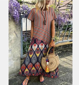 Printed Long Dress Short Sleeved Striped Women's Dress