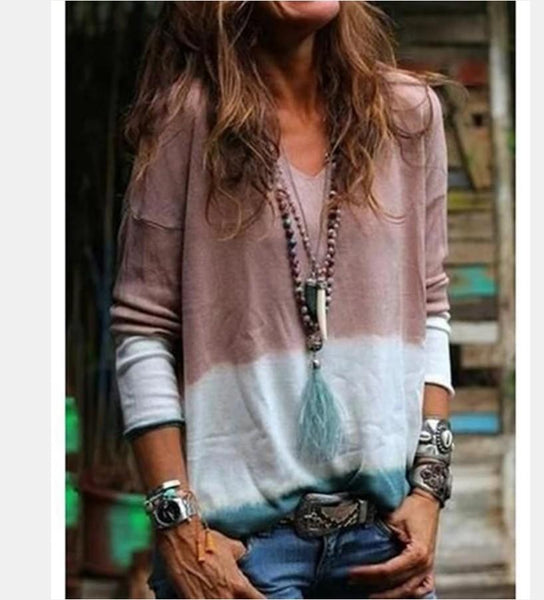 V-collar Collage Tie Long-sleeved Casual Blouse T-shirt