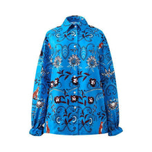 Load image into Gallery viewer, Boho Floral Printed Women Autumn Button Lapel Collar Long Sleeve Loose Shirt Blouse