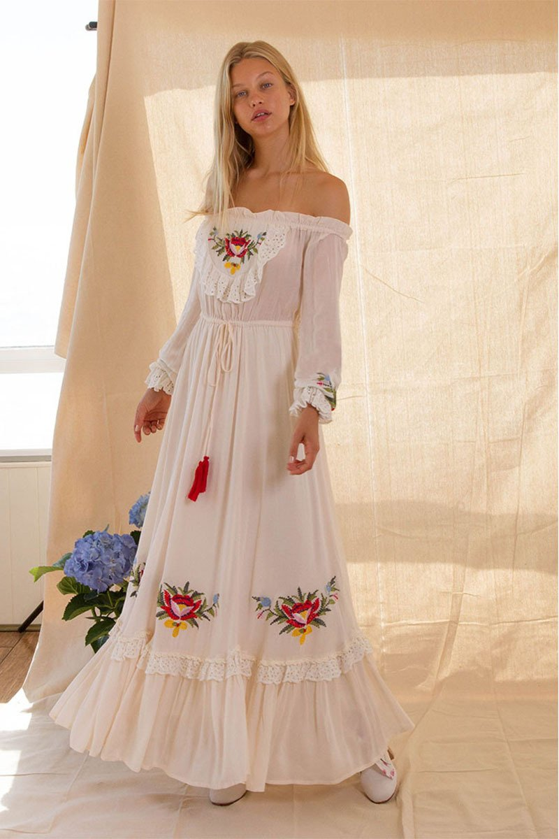 Bohemian Handmade Flower Shoulder Sexy Embroidered Skirt