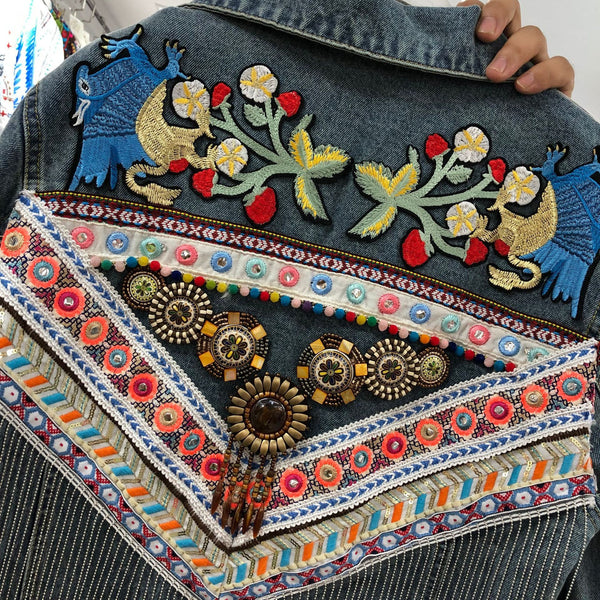 National Wind Thai Heavy Duty Embroidery Stitching Flow Su Loose Long-sleeved Denim Jacket