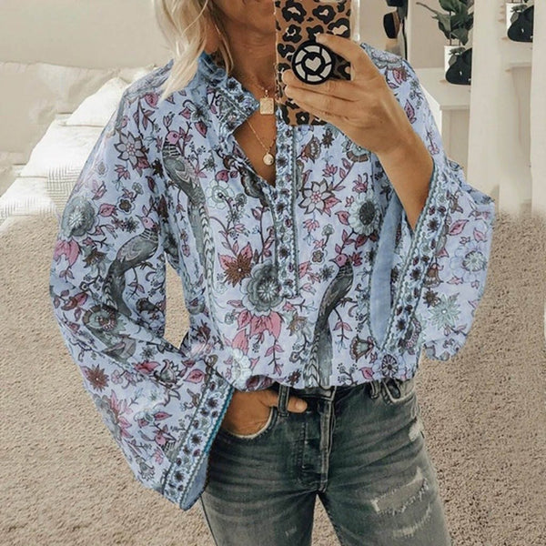 Women's Loose Long Sleeve Printed Stand Up Collar Single Breasted Shirt