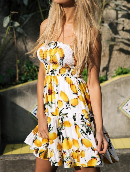 Sexy Printed Strapless Backless Beach Dress