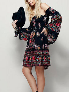 Elegant Bohemia Floral Off Shoulder Long Sleeve Mini Dress