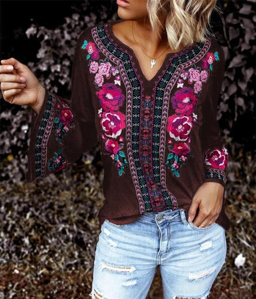 Bohemian Embroidery Printed Long-sleeved Casual Top T Shirt