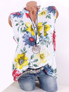 Standing Collar Slub Hemp Printed Sleeveless T-shirt