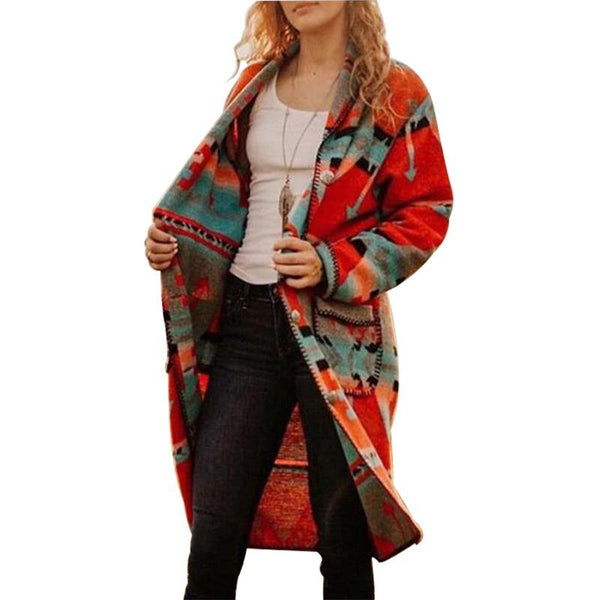 Autumn and winter new foreign trade printing long-sleeved mid-length coat