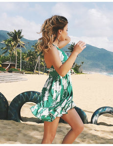 Sexy Printed Deep V Neck Sleeveless Backless Beach Mini Dress