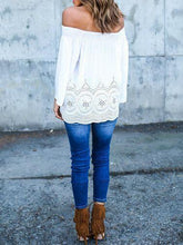 Load image into Gallery viewer, Crochet Openwork Shoulder-length Collar Lace Long Sleeve Shirt T-shirt