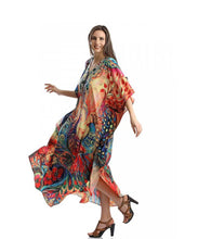 Load image into Gallery viewer, Peacock Orientation Print Beach Dress Holiday Long Dress Bikini Blouse
