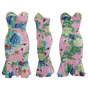 Strapless Floral Print Mermaid Bodycon Midi Dress