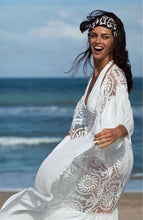Load image into Gallery viewer, Lace Embroidered Ruffled Chiffon Pullover with Beach Jersey Bikini Blouse