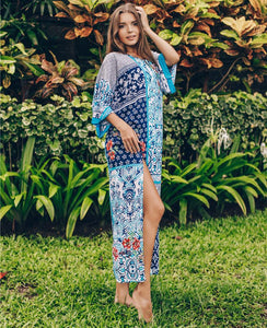 Ethnic Print Beach Sun Protection Bikini Dress Blouse
