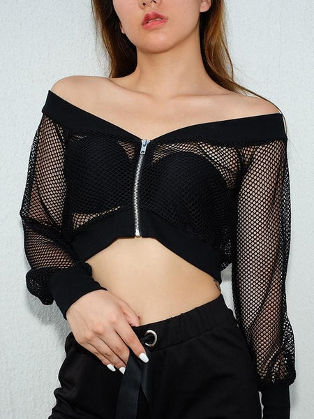 Gothic Sexy Short Women Black Mesh See-Through Slash Neck Hollow Off Shoulder Long Sleeve Club Street Blouse