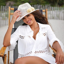 Load image into Gallery viewer, Three Dimensional Plaid Matching Lace Style Beach Dress Swimsuit Seaside Sunscreen Blouse