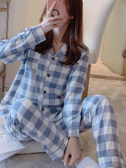 Women Pajamas Sets with Pants Long Sleeve Turn-down Collar with Pocket Pyjama Cute Cartoon Button Top+Pants Pijama