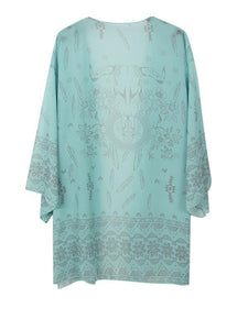 Fashion 3/4 Sleeve Printed Shirt Shawl Cover-up Tops