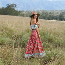 Load image into Gallery viewer, Red Off-the-shoulder Bohemia Maxi Chiffon Floral Print Dress Beach Style Vacation Dress
