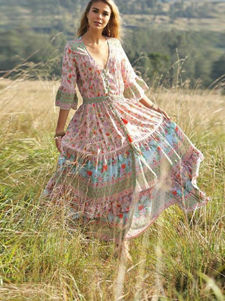 Bohemian Beach Holiday Wind Pleated Print Dress