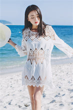 Load image into Gallery viewer, Cutout Sexy Beach Bikini Cover Shirt Long Section of Sleeves Hollow Beach Sunscreen Shirt Cover Up