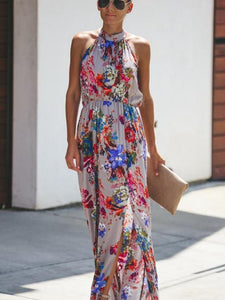 Bohemian Hanging Neck Round Neck Large Swing Long Dress
