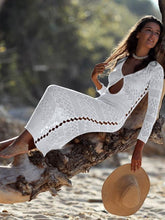 Load image into Gallery viewer, Openwork Shoulder Beach Sexy Blouse Long dress