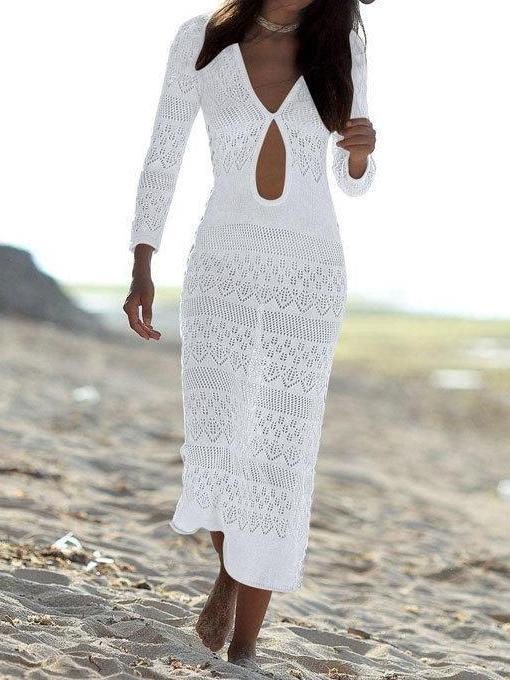Openwork Shoulder Beach Sexy Blouse Long dress