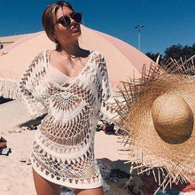 Load image into Gallery viewer, Handmade Hook Flower Beach Blouse Holiday Sun Protection Cover Up