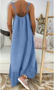 Boho Solid Color Sleeveless Suspender Dress Loose Long Dress
