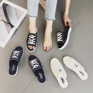 Half Slipper Fashion Wears Wild Casual Canvas Sandals