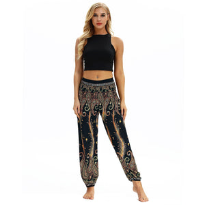 Peacock Feather Print Pocket Yoga Pants Casual High Waist Bloomers