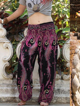 Load image into Gallery viewer, Peacock Feather Print Pocket Yoga Pants Casual High Waist Bloomers