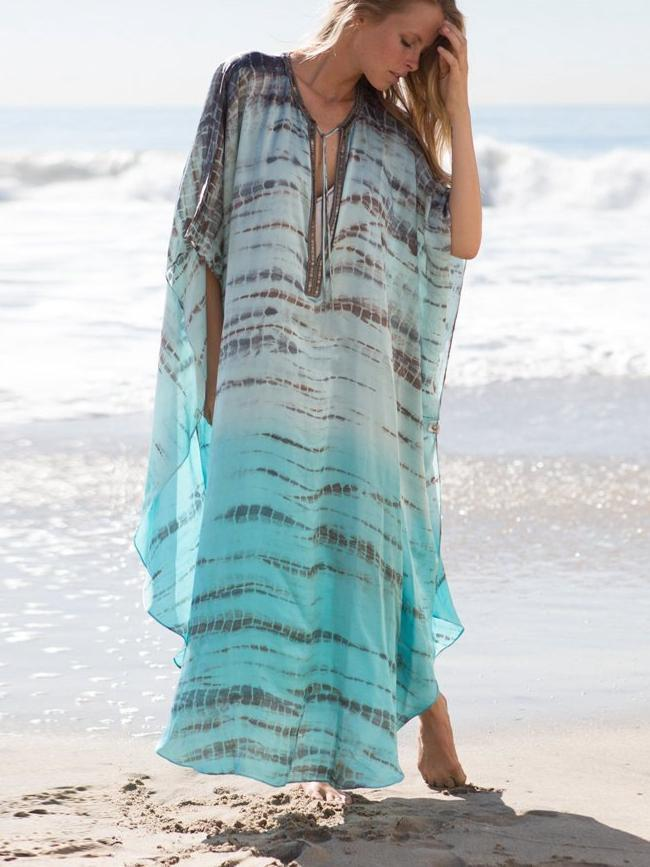 Beach Robes Seaside Vacation Blouse Cover Up Maxi Dress