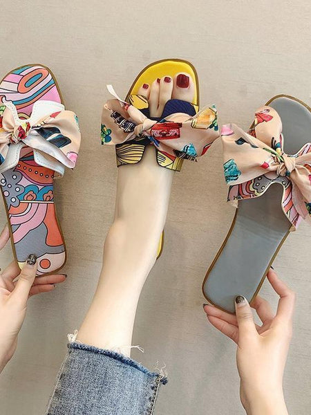 Sandals and Slippers Bow Flat H Slippers