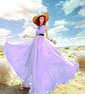 Bohemian Solid Color Chiffon Huge Hem Maxi Long Dress