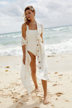 Load image into Gallery viewer, Button Cardigan Sunscreen White Beach Dress