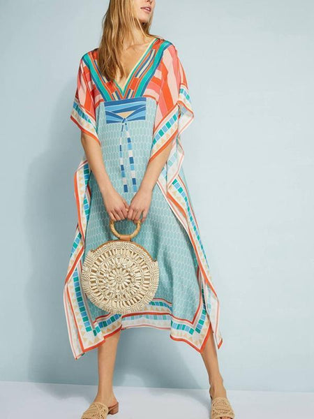Loose Printed Blouse Beach Holiday Dress