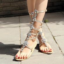 Load image into Gallery viewer, Flat bottom toe sandals rhinestone high to help women's shoes