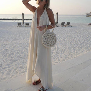 Strap Solid Color Beach Long Dress