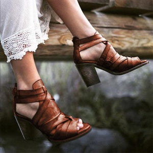 Plain Chunky High Heeled Peep Toe Date Travel Platform Sandals