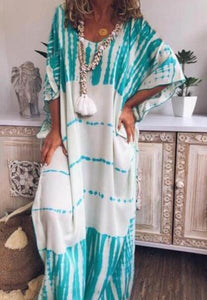 Casual Print Large Size Long Dress