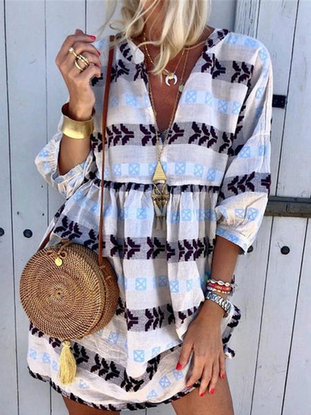 Fashion Print V-neck Cropped Sleeve Dress