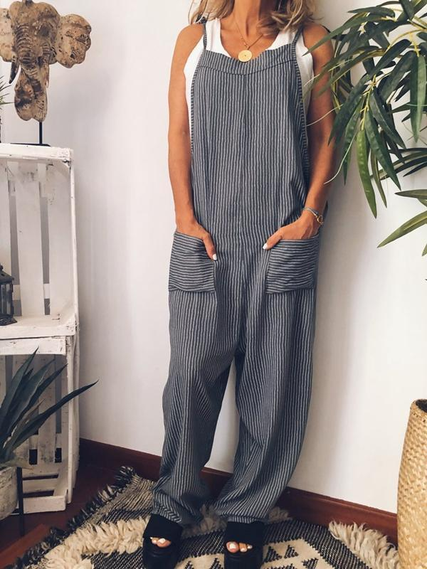 Sexy Open Back Tie Deep V-neck Striped Sling Jumpsuit